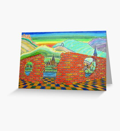 218 - IF ONLY THESE BRICKS COULD TALK II - DAVE EDWARDS - INK & COLOURED PENCILS - 2008 Greeting Card