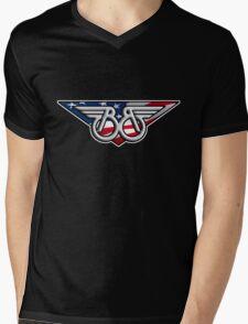 Buckaroo Banzai Winged B with American Flag Mens V-Neck T-Shirt