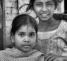 2 Sisters on the Street in B&W by Christian Eccleston