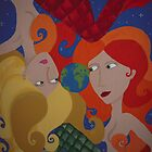 Untitled Large Mermaids Painting by JennyA by JennyTheArtist