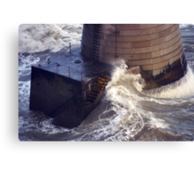 NATURAL FORCE - WAVES POUND THE BASE OF BIRLING GAP LIGHTHOUSE Canvas Print