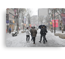 Snowing in Insadong, Seoul Canvas Print