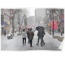 Snowing in Insadong, Seoul Poster