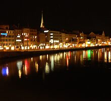 City Lights on the Water, Zurich Switzerland by Kosan