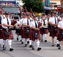 Pipe Band marching in Drouin Ficifolia Parade by Bev Pascoe