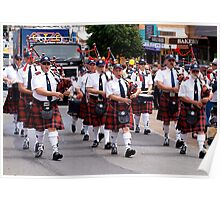 Pipe Band marching in Drouin Ficifolia Parade Poster