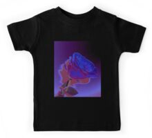 Dynamic Blue and Purple Abstract Rose Design Kids Tee