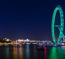 The London Eye at Night by Carolyn Eaton