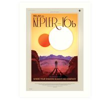 Relax on Kepler-16b - Where your shadow always has company Art Print