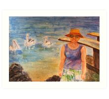 Girl and Pelicans at the Fish Cleaning Table. Art Print