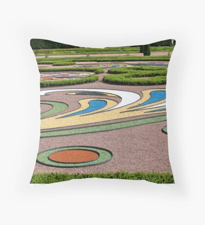 abstract tracery in regular garden Throw Pillow