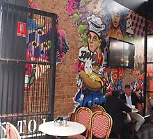 Dining out in Melbourne, down Flinders Lane, Victoria, Australia by Margaret Morgan (Watkins)