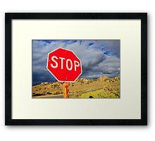 Stop in desert. Framed Print