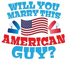 Will you marry this American guy? with silver proposal rings red white and blue Photographic Print