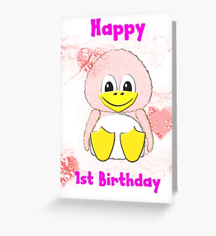 Penguin Baby's 1st Birthday card Greeting Card