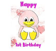 Penguin Baby's 1st Birthday card Photographic Print