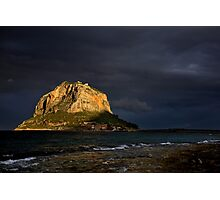 Natural spotlight on the Greek Gibraltar - Monemvasia Photographic Print