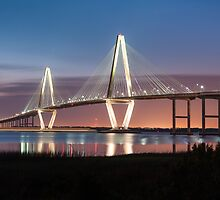 Charleston Arthur Ravenel Cooper River Bridge Sunset Landscape by MarkVanDyke