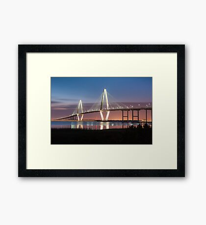 Charleston Arthur Ravenel Cooper River Bridge Sunset Landscape Framed Print