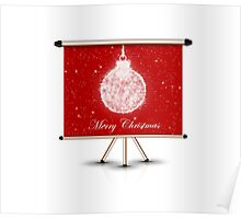 merry christmas decoration ball on isolated banner Poster