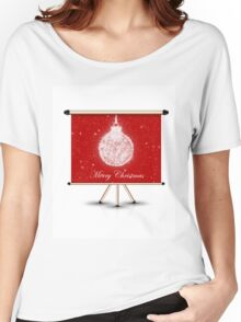 merry christmas decoration ball on isolated banner Women's Relaxed Fit T-Shirt