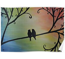 Birds Silhouette on Rainbow Background Poster