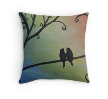 Birds Silhouette on Rainbow Background Throw Pillow