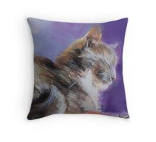 Contented ( Cat ) From original pastel by Madeleine Kelly Throw Pillow