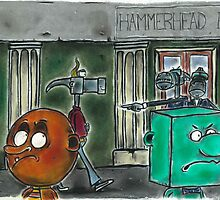 Ball Head & Block Head are refused entry to Hammerhead Hall by Paul  Carlyle