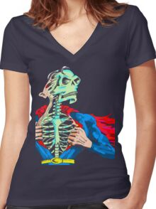 Super Skull Women's Fitted V-Neck T-Shirt