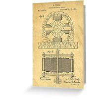TESLA POSTER Electric Motor 1888 Patent  Greeting Card