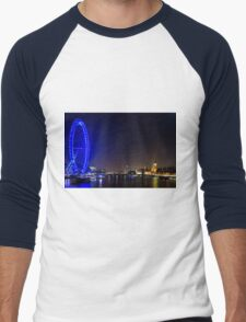 London Eye and the Houses of Parliament, England Men's Baseball ¾ T-Shirt