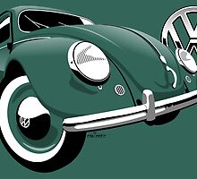 VW Beetle type 1 green by car2oonz