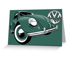 VW Beetle type 1 green Greeting Card