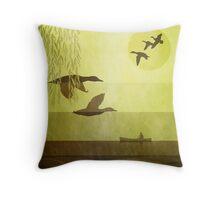 Ducks: Flying: Warm Gold Throw Pillow