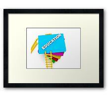 education concept, text on colorful books Framed Print