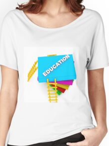 education concept, text on colorful books Women's Relaxed Fit T-Shirt