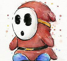 Shy Guy Watercolor by OlechkaDesign