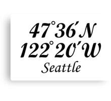 Seattle Coordinates Canvas Print