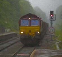 Goods Train arriving at Hebden Bridge by Glen Allen