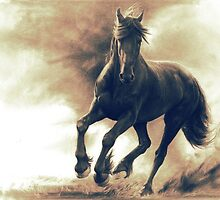 Black horse in storm - retouched pencil drawing by Thubakabra