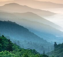 Great Smoky Mountains Oconaluftee River Valley Sunrise Mountain Layers by MarkVanDyke