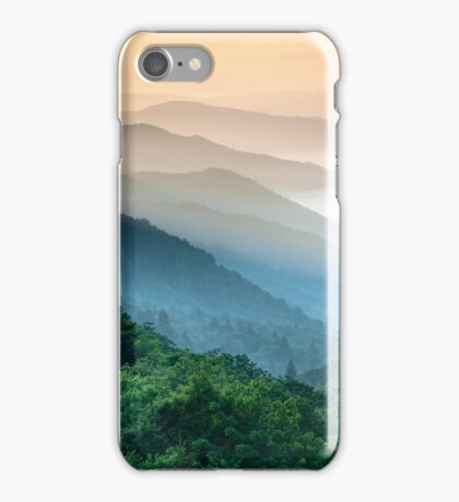 Great Smoky Mountains Oconaluftee River Valley Sunrise Mountain Layers iPhone Case/Skin