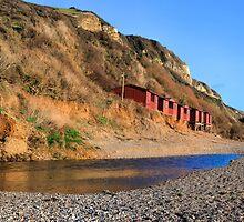 Beach Huts at Branscombe Devon... by lynn carter