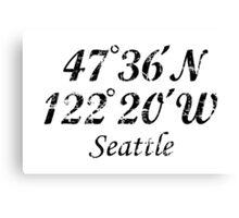 Seattle Coordinates Vintage Black Canvas Print