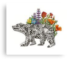 Grizzly Flora Canvas Print