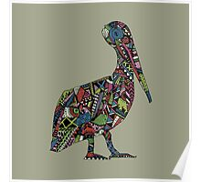 Patterned Pelican Poster