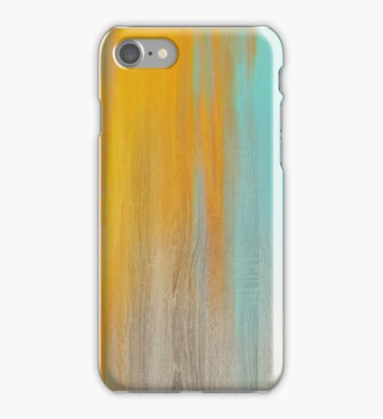 Wood texture with yellow and blue color drippings iPhone Case/Skin