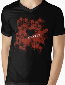 Dexter - love blood splatter Mens V-Neck T-Shirt