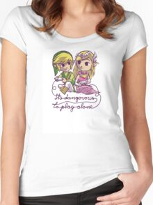 It's dangerous to play alone Women's Fitted Scoop T-Shirt